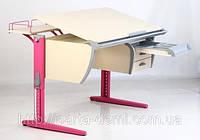Детская парта Дэми с тумбой СУТ.15-04, цвет клён/розовый