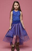 Двухцветная юбка с хвостом сирень+фиолетовый