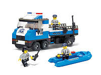 "Конструктор SLUBAN M38-B0186 ""Полиция"": машина, катер, фигурки 3 шт., 202 дет."