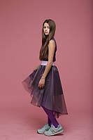 Двухцветная юбка с хвостом сирень+баклажан