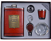 Подарочный набор с флягой для мужчин Jack Daniels кожа+набойка (фляга,брелок,пепельница,стопка,лейка) AL701