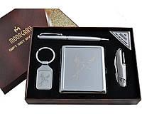 Подарочный набор Moongrass 4 в 1 Портсигар, нож, ручка, брелок AL-116