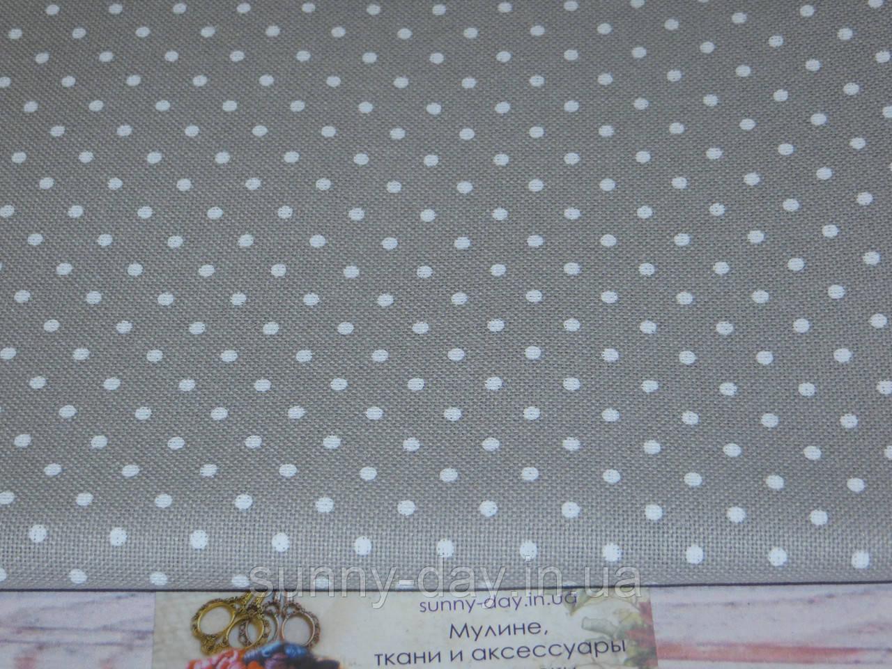 3984/7349, Murano Lugana, колір - Gray/white dots/сірий/білий горох, 32 ct