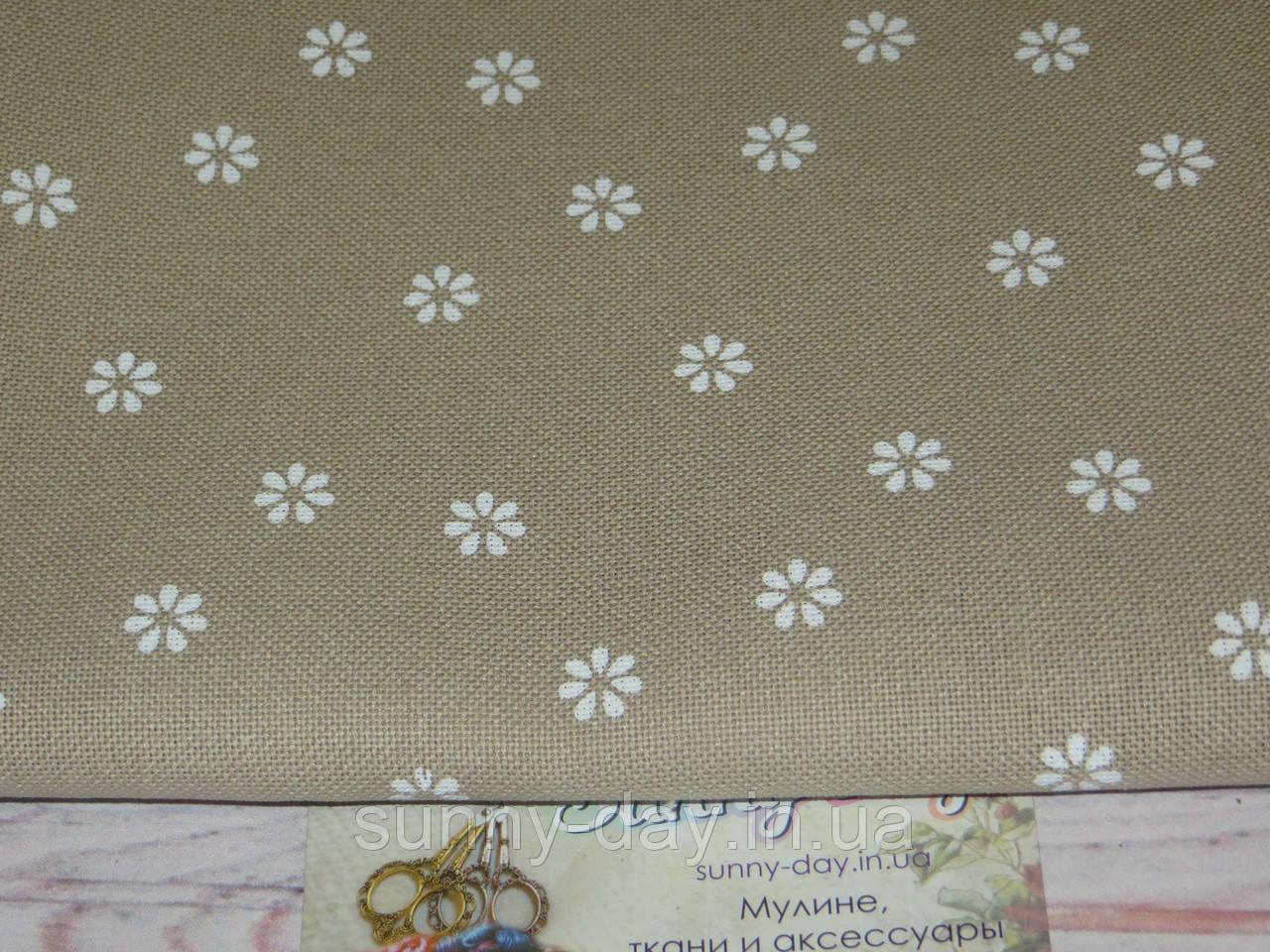 3984/7399, Murano Lugana, колір - Beige bis/white flower/бежевий/білий квітка, 32 ct