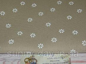 3984/7399, Murano Lugana, цвет - Beige bis/white flower/бежевый/белый цветок, 32 ct