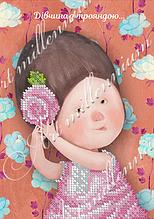 """Схема для вышивки бисером W-537 """"Девушка с розой..."""" (Дівчина з трояндою...)"""