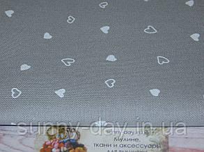 3984/7409, Murano Lugana, цвет -  Petit Gray/white coeur/серый/белые сердечки, 32 ct