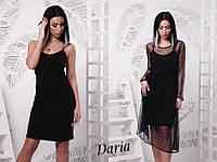 Женское модное платье-двойка черного цвета, фото 1