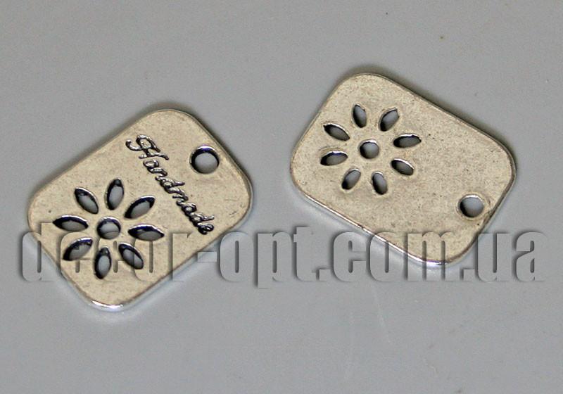 Металлическая ретро-бирка HandMade 19х14мм 24021 10 шт.