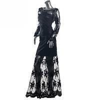 Вечернее сексуальное кружевное макси платье с открытой спиной, шикарное длинное платье в пол, фото 1