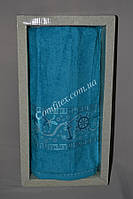 "Подарочное махровое полотенце банное Gulkan Greek Life 70х140 ""Голубой"" - Турция 2412"