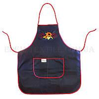 Фартук женский кухонный с вышивкой, Синий, 164х170
