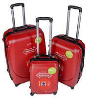 Комплект пластиковых чемоданов 3-ка.на четырёх колёсах фирмы GRAVITT (Польша)