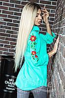 Женская рубашка с вышивкой на рукавах / 2  цвета арт 4117-564