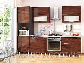 Комфорт Хай-Тек кухня КХ-165 зебрано темное 2.8 м