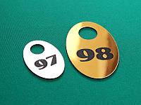 Номерок для ключей пластиковый 35х50 мм, односторонний (Кольцо: Без кольца для ключей;  Цвет: Белый/черный;)