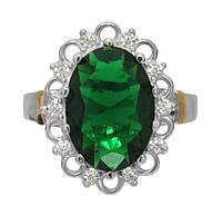 """Серебряное кольцо с золотом и зеленым камнем """"Венец"""""""