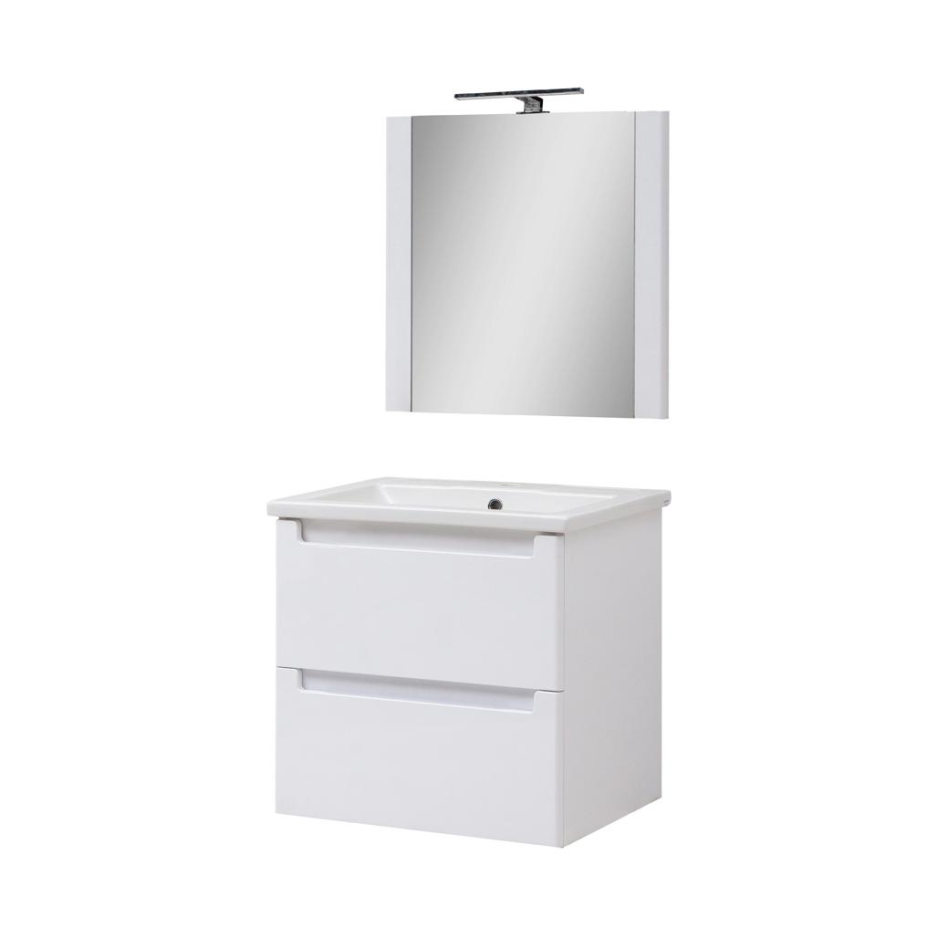 Мини-комплект мебели для ванной комнаты Эльба 60 ТП-2 подвесной с зеркалом Юввис