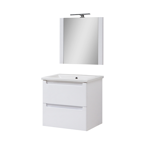 Мини-комплект мебели для ванной комнаты Эльба 60 ТП-2 подвесной с зеркалом Юввис, фото 2