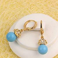 008-4815 - Позолоченные серьги с голубыми бусинами и прозрачными фианитами