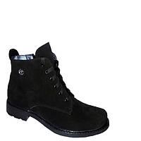 Женские замшевые ботинки на низком каблуке