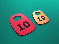 Номерок для ключей пластиковый 35х50 мм, двухсторонний (Кольцо: Без кольца для ключей;  Цвет: Белый/черный;)
