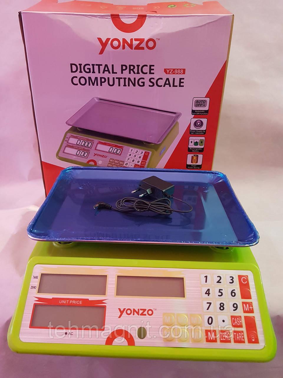 Весы электронные, торговые с калькулятором, с наибольшим пределом взвешивания до 40 кг, ваги YONZO YZ-988