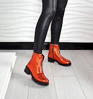 Демисезонные ботинки  MORG@N декор змейка материал натуральная кожа, внутри байка, цвет красный перламутр