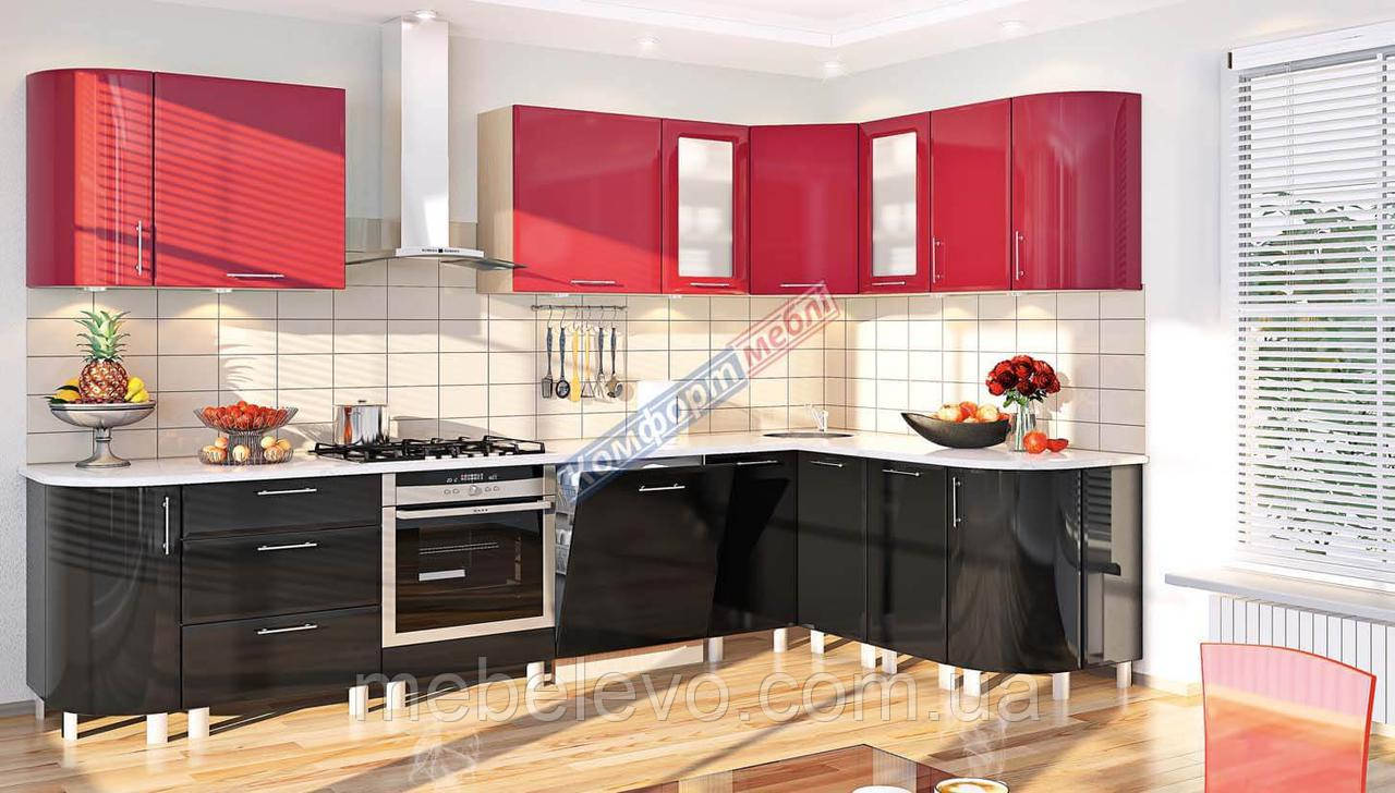 Комфорт Хай-Тек кухня КХ-166 красный + черный перламутр 3.1 х 1.7 м