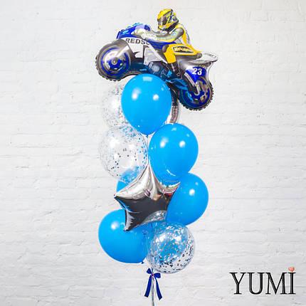 Связка из фигуры синий мотоциклист, 3 серебряных звезд, 6 синих и 3 прозрачных шаров с серебряным конфетти, фото 2