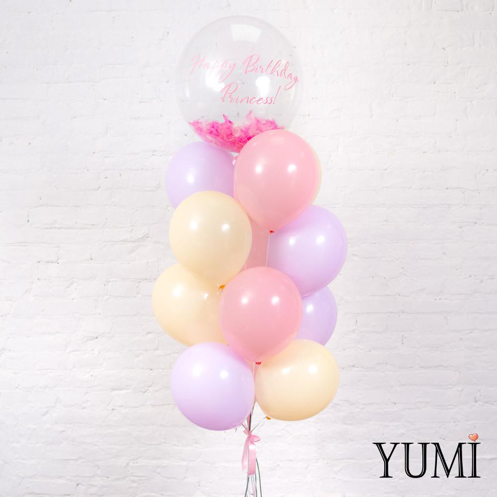 Фонтан из 16 нежных шаров для девочки