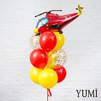 Композиция из шара Красный вертолет, 4 желтых, 3 красных и 2 шаров с золотым конфетти