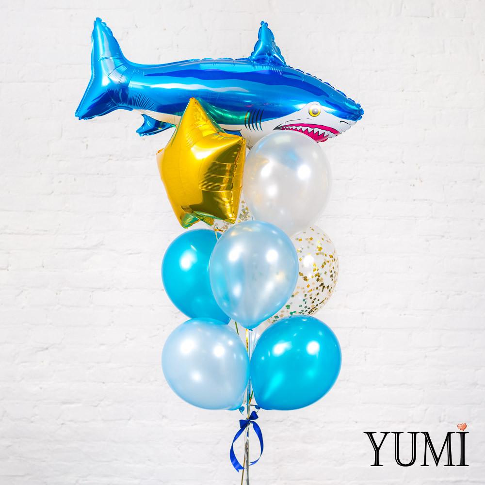 Связка из воздушных шариков в морском стиле