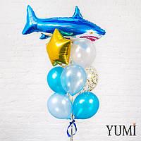 Композиция из шара Акула, золотой звезды, 6 перламутровых шаров и 2 шаров с золотым конфетти