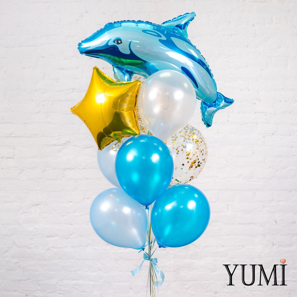 Связка из шара Дельфин, золотой звезды, 2 голубых, 2 белых, 2 синих перламутровых шаров и 2 шаров с золотым