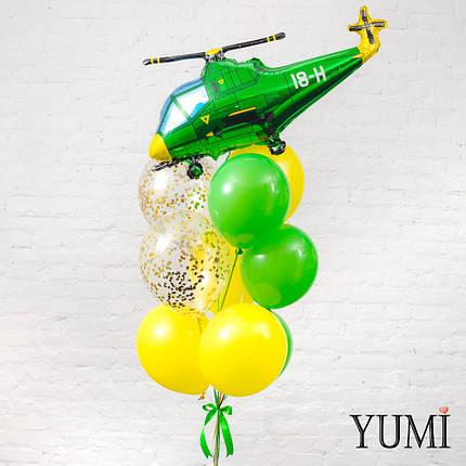 Композиция из шара Зеленый вертолет, 4 желтых, 3 зеленых и 2 прозрачных шаров с золотым конфетти, фото 2