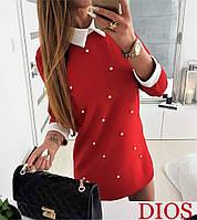 Платье Белый воротник с жемчугом красное