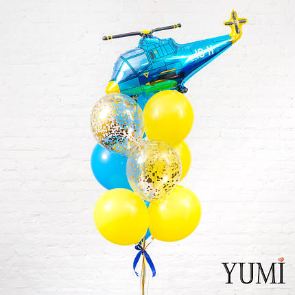 Композиция из шара Синий вертолет, 4 желтых, 3 синих и 2 шаров с золотым конфетти, фото 2