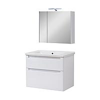 Мини-комплект мебели для ванной комнаты Эльба 70 ТПБ-2 подвесной с зеркальным шкафом Юввис