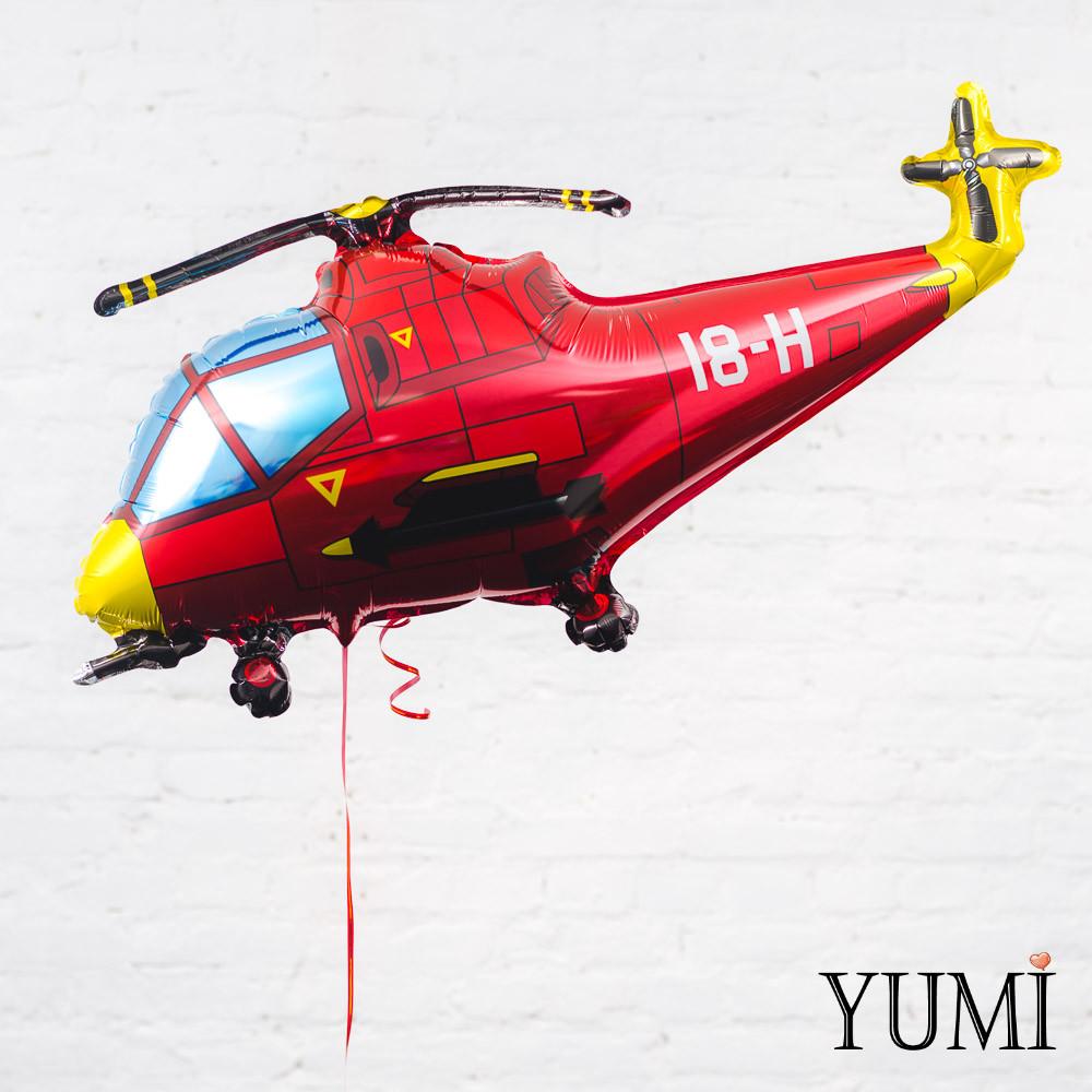 Фольгированный шарик Вертолет красный