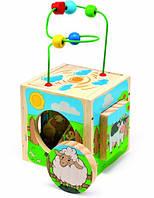 Деревянная игрушка универсальный куб Ферма