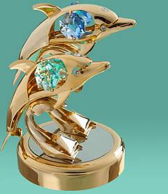 "Фигурка ""Два дельфина""  Crystocraft с кристаллами Swarovski, 0211-097/GA"
