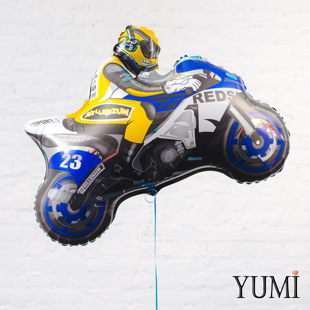 Фольгированный шар с гелием мотоциклист синий