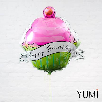 """Фольгированный воздушный шар с гелием кекс """"Happy Birthday"""" в горошек, фото 2"""