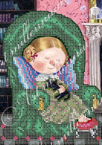 """Схема для вышивки бисером W-532 """"Алиса в кресле"""""""