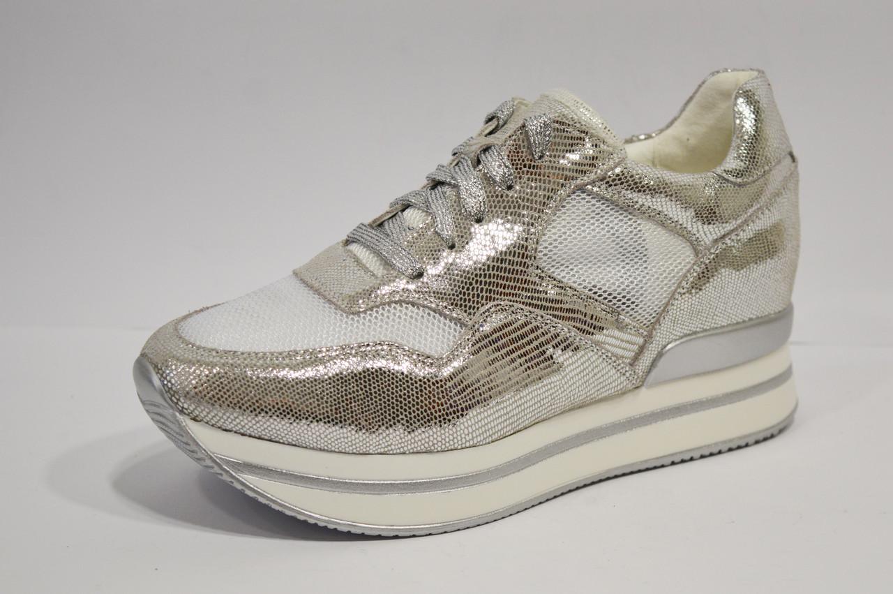 Серебристые кроссовки на платформе Lonza