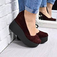 Туфли женские замшевые на платформе Vessa бордо