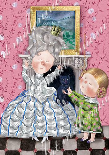 """Схема для вышивки бисером W-534 """"Алиса и дама"""""""
