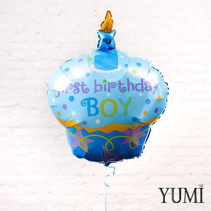 """Воздушный шар на первый День Рождения Кекс голубой """"First b-day Boy"""", фото 2"""