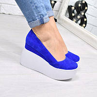 Туфли женские замшевые на платформе Vessa электрик